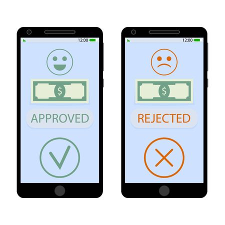 Approved and rejected pay on smartphone. Get money on mobile app, approve and deny. Vector illustration