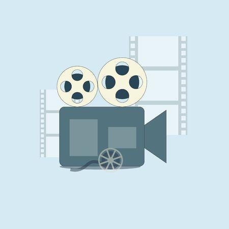 Film production, camera and filmmaking. Cinema filmmaking, production cinematography, video camera illustration vector Ilustracje wektorowe