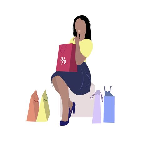 Woman in boutique with purchase. Shopper and packs. Illustration shopaholic, buyer in store vector
