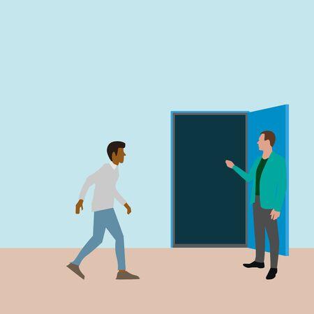 Personne allant à une nouvelle opportunité en porte ouverte. Opportunité de porte vectorielle, carrière ouverte, nouvelle entrée à l'avenir, illustration de personnes dans la porte, courant et entrée dans une nouvelle vie Vecteurs