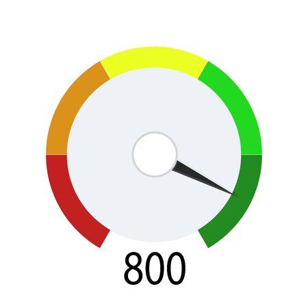 Kredit-Score-Indikator für Bargeld auf der Bank. Gerät zeigt zahlungspflichtigen Client an. Höchstzahl für Darlehen oder Hypothek. Vektorgrafik-Darlehensstand in der Kredithistorie Vektorgrafik