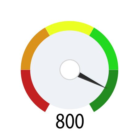 Credit score indicator for get cash in bank. Device indicate level payable client. Hight number for loan or mortage. Vector illustration loan level in credit history