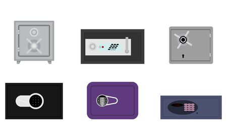 Steel safes collection with code and lock key. Vector deposit box with safety combination, close privat safe, illustration hotel confidential strongbox