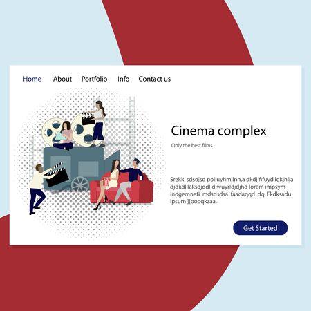 Cinema complex website, entertainment and leisure. Service show film, web page movie house. illustration multimedia event Çizim