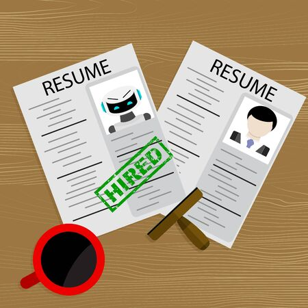 Hiring robot, choosing human or robot candidate for job. Vector headhunter workplace, illustration choose characters hr artificial and man, Hired ai to work in company. Cyborg approved for job Illustration