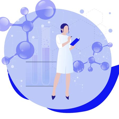 Female scientist in lab coat researching molecular connection. Concept of biochemistry, research, analysis. Vector scientific algorithm, ai neuroscience connection illustration