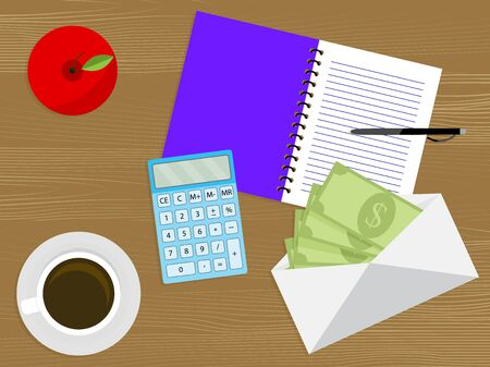 Cash money in envelope on table. Pay day concept vector. Cash salary on work place, illustration banknote budget and notebook for write