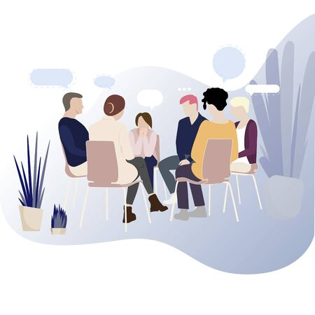 Group therapy for addiction people, support meeting psychology. Illustration group conversation psychotherapy, therapy session vector, psychological probelem in circle support