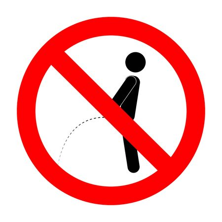 Ban piss symbol. Vector ban and no toilet, forbidden peeing and pissing label illustration Vector Illustratie