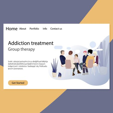 Addiction treatment, group therapy landing page. Psychotherapy session for addiction people, group counseling, doctor medical with patients
