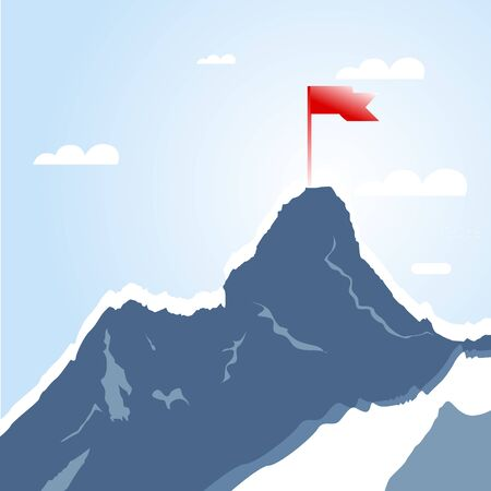 Mountain peak with red flag, Success goal. Top climbing achievement, successful leadership challenge, vector illustration