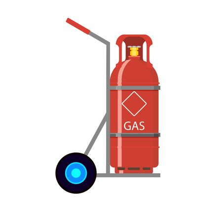 Gas tank fixed in cart. Vector balloon flammable butane, compressed container with gas illustration