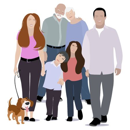Happy family portrait, generation young and old. Grandpa and grandmother, grandparents with mother and father, daughter and son. Vector illustration