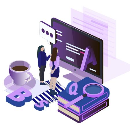 Study languages online. Education english. Vector foreign isometric learn, student with vocabulary online courses illustration Vector Illustration