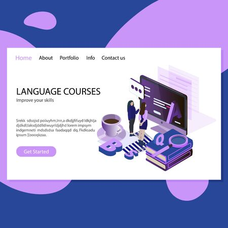 Language courses. Improve skills, online education. Remote foreign speaking and reading, english courses mockup web page