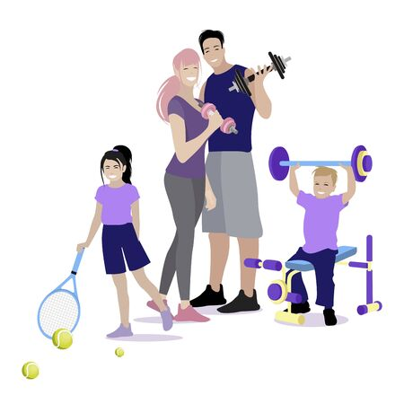 Sport family do fitness, concept of healthlife. Sport father and mother with children doing exercise in gym. Vector illustration. Physical training to be strong