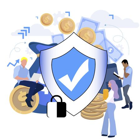 Financial protection and safety, financial saving insurance. Vector illustration. Business insurance, safe and protect money, safety shield, reliable protection wealth Vector Illustratie