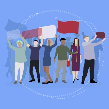 Crowd protesting people with banners and placards. Man woman in political meeting, parade and rally. Male female protesters activists. Vector illustration