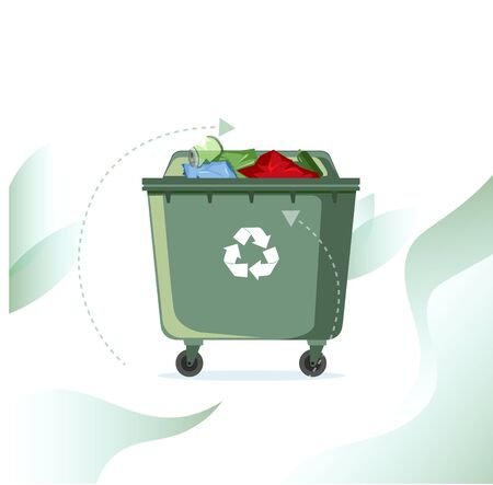 Rubbish street bin full with recycle symbol. Vector container waste, ecology recycle rubbish, garbage recycling, street dump overflowing illustration Çizim