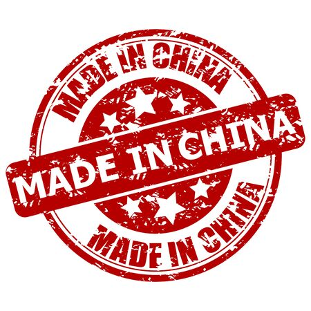 Made in china, rubber stamp fabricated item. Stamp china guarantee, produce and made, manufacturing seal imprint, vector illustration