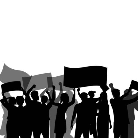 Black banner with crowd. People group meeting, resistance and activist, freedom revolution, cheering and protest, vector illustration