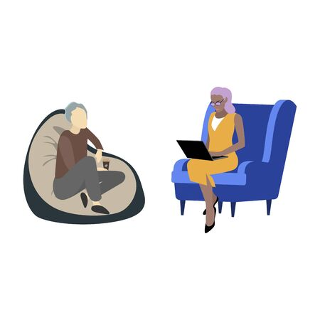 Psychological help, fight with fears and phobias. Patient telling psychiatrist about problem, psychological consulting, solving tangle and gestalt. Vector illustration