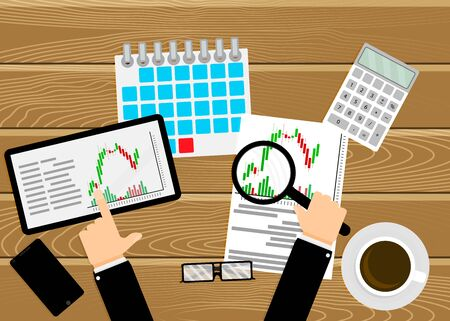 Trader work place, analyzing exchange chart candlestick. Analysis financial growth, banking analytical diagramm. Trading workplace table. Vector illustration