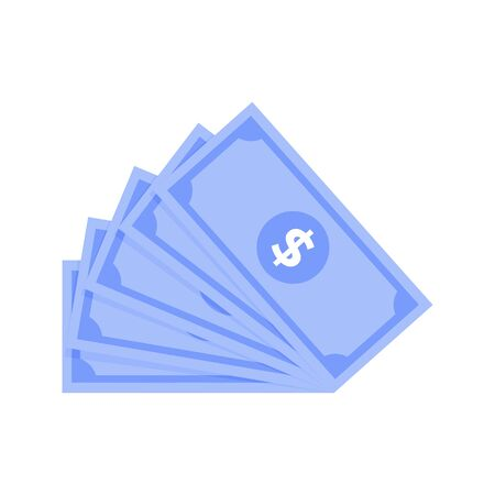 Cash money fan. Bill isolated dollar, wealth pile green, finance banknote in blue colored, hundred usd, vector illustration