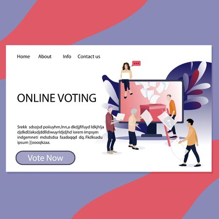 Online voting landing page for government and election center. Referendum and election app page, registration and vote, ballot-box and voter. Vector illustration. Stimulus campaign vote