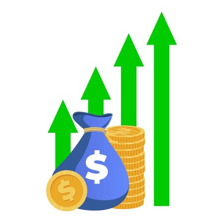 Finance raise, growth capital. Vector financial interest, revenue and income, increase fund, earn growth, finance sack raising illustration