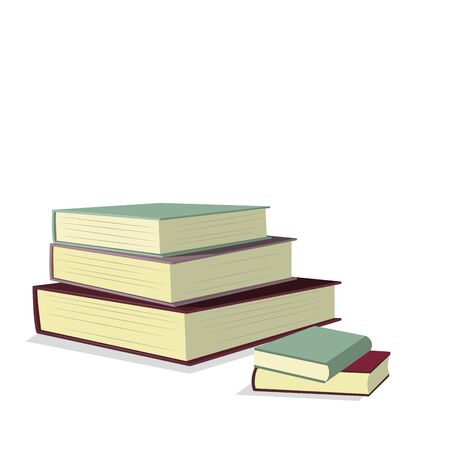 Stack of books isolated on white for banner back to school or education training class. Vector stack of books drawing, illustration literature for school study, information in textbook, pile and stack