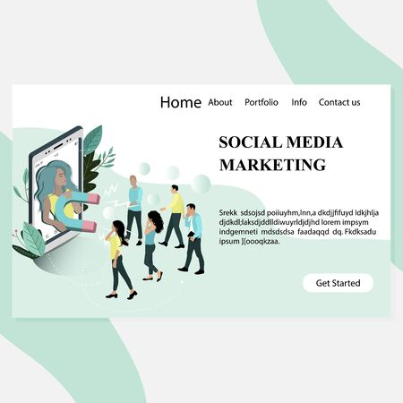 Social media marketing landing page. Young blogger with magnet attract customer followers and community. Advertising agency for social media 일러스트