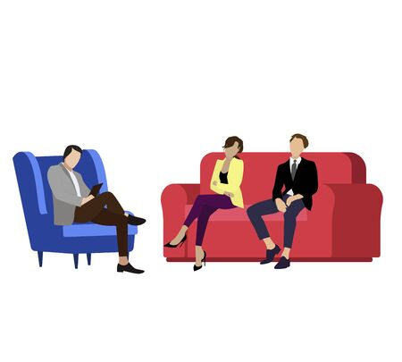 Couple husband and wife consult psychologist. Vector consultation psychologist, woman and man family visit specialist psychology, psychiatry therapy illustration