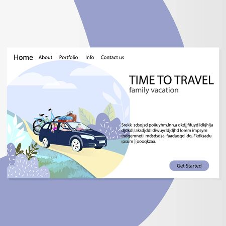 Time to family travel. Agency landing page. Vector webpage car with baggage, journey transportation active illustration Illustration