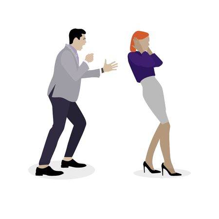 Husband shouting to wife, boss yelling to staff. Bullying concept in family and work. Vector conflict couple, divorce and scandal, arguing expression illustration