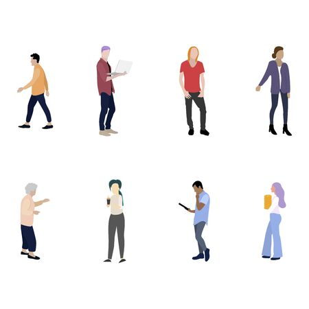 Man woman people cartoon colored flat collection. Vector guy character female and male, cartoon people girl and boy. Vector illustration