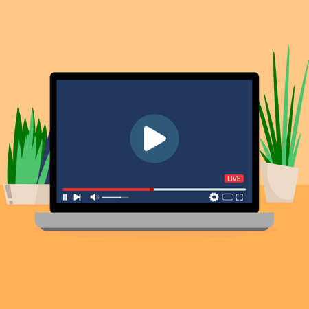 Interface video player laptop, video userface with button, navigation internet online, vector cartoon movie screen with play button, illustration software panel window. Social channel with media