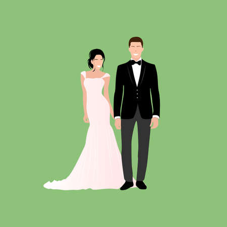 Couple get married, happy bride and groom. Love happy wedding, couple woman and woman marriage illustration