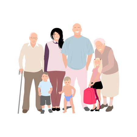Happy family mother father children and grandparents. Mother and father family, husband and wife with daughter son. Vector illustration. Generation child parents and eldery