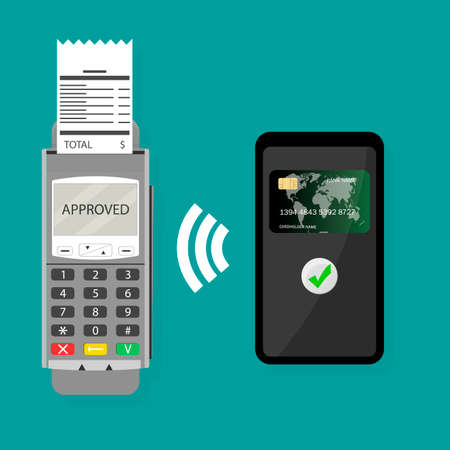 Wireless pay pass with smartphone. Vector transaction wireless purchase, nfc transaction paying online terminal and credit card in smartphone Ilustração