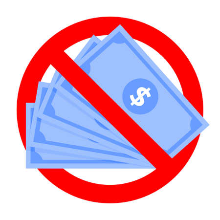 Renouncement cash money icon, do not accept cash banknotes. Forbidden and reject money, attention icon fake usd. Vector no bribery, forbid illegal corrupt ban accept exchange illustration