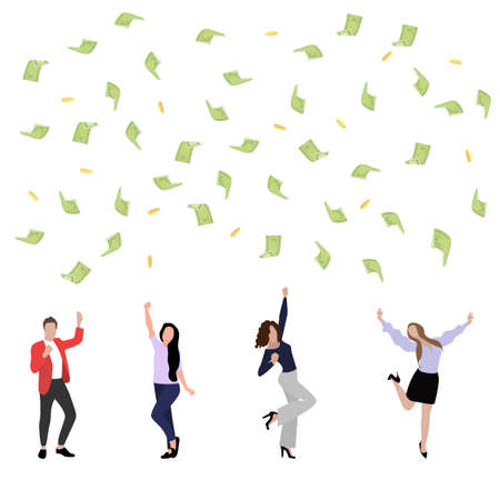 Business team enjoy win, dance under money rain. Vector successful rain earning, woman and man employee happy celebrating illustration