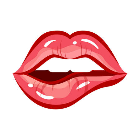 Sexy woman lips. Vector lipstick mouth, red female makeup, glamor and beauty lips girl, illustration fashion woman bitten lip, gloss desire smile ladies