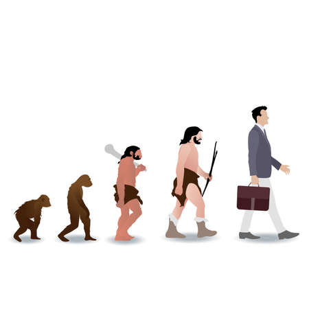 Human evolution from ape to businessman. Vector monkey and prehistoric ape, caveman grow to businessman, illustration human evolution history, australopithecus development in chimpanzee and people