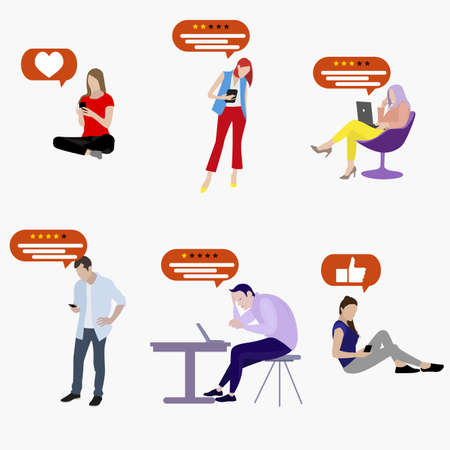 User social media leaving feedback review and evaluation. Man and woman writing survey and ranking. Illustration comment in internet from customer about application or experience