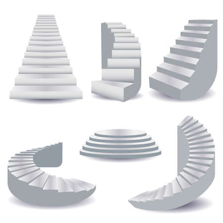 White stairs collection. staircase isolated 3d, stairway for interior. Podium stage, staircase round, 3d base template, stairway collection. Vector illustration