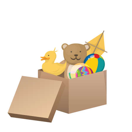 Carton box with kids toys. Children game, box package for baby, childhood playing and activity, kite teddy anf rubber duck. Vector illustration