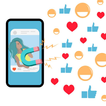 Blogger girl attracts followers likes use magnet in social media. Vector blogging and attracting follower, magnet attract, blogger outreach illustration. Seo marketing and optimization Illusztráció