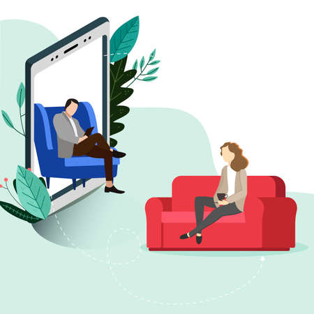 Psychotherapy online, helpline depression, conversation consulting and psychological help. Mental wellness, online helpline by psychologist, vector illustration