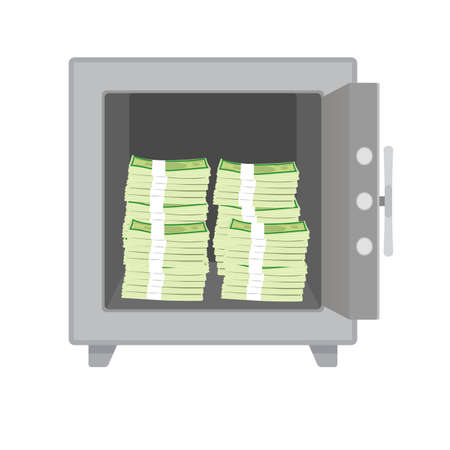 Cash money stack keep in safe box. Reliably and safety box for valuable things. Vector illustration financial protection for saving capital. Bank deposit box with money Illusztráció